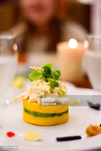 peruvian causa rellena - comida peruana fotografías e imágenes de stock