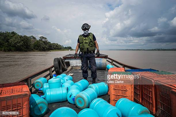 Peruvian Coast Guard on patrol of illegal animal trafficking on the Amazon River in January 2016.