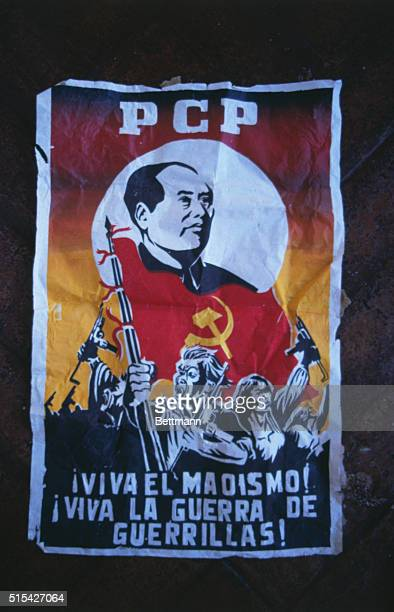 Peruvian Communist Party poster proclaiming 'Viva the Maoism' and 'Viva the  War of