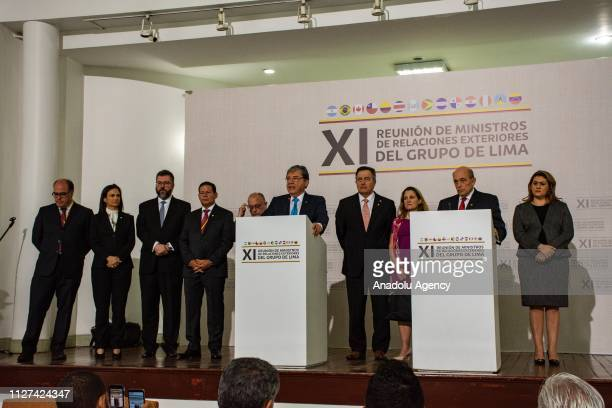 Peruvian Deputy Foreign Minister, Hugo de Zela , and the Colombian Foreign Minister, Carlos Holmes Trujillo , give a speech in a press conference of...
