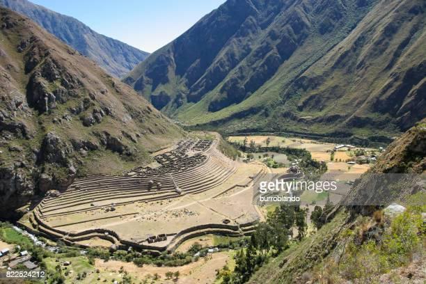 Peruanische Landwirtschaft Terrasse in die Seite eines Hügels gebaut