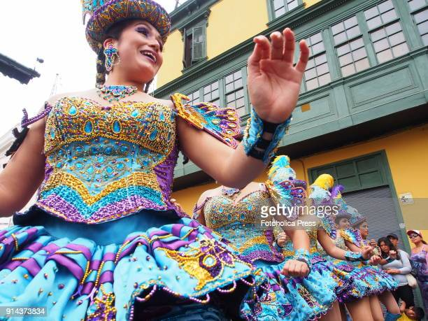 Peruvian female dancers take part in the Virgin of Candelaria festival in the main streets of Lima's downtown. Popular in Puno, Peru, and Bolivia,...