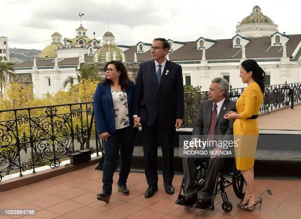 Peruvian First Lady Maribel Diaz Cabello Peruvian President Martin Vizcarra Ecuadoran President Lenin Moreno and his wife Rocio Gonzalez pose at the...