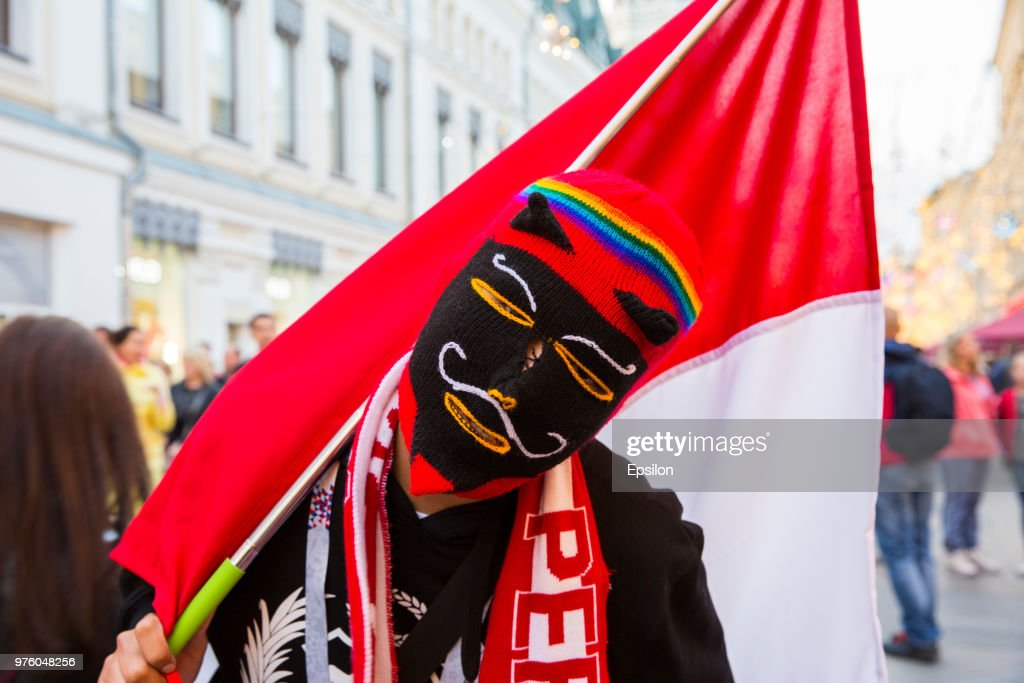 Peruvian football fans cheer at Moscow downtown on June 14, 2018 in Moscow, Russia.
