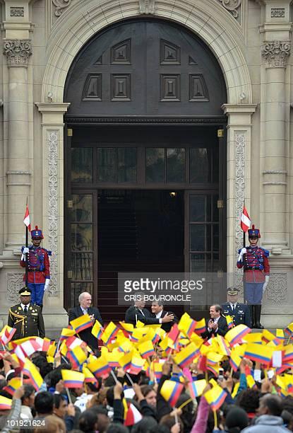 Peruvian Foreign minister Jose Antonio Garcia Belaunde, President Alan Garcia, his Ecuadorean counterpart Rafael Correa and his Foreign minister...