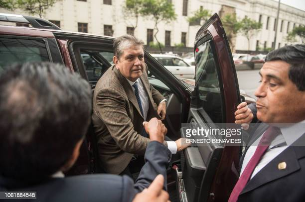 Peruvian former president Alan Garcia arrives at the prosecutor office in Lima on November 15 2018 Garcia was called as a witness as part of the...