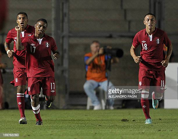 Peruvian forward Yordi Reina celebrates after scoring against Uruguay during their South American U-20 Championship Group B football match, at...