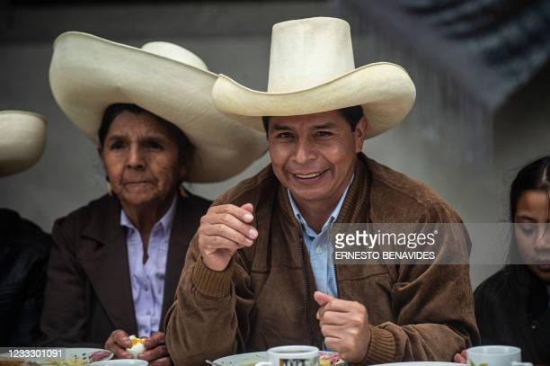 Peruvian left-wing presidential candidate for Peru Libre party, Pedro Castillo accompanied with his family, participates on a breakfast open to the...
