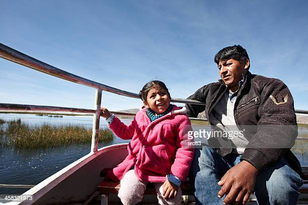 Peruvian man and little girl on boat
