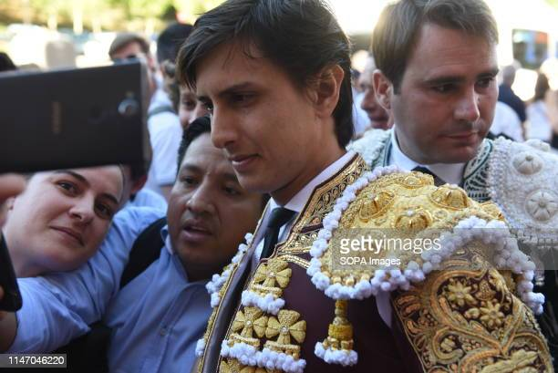 Peruvian matador Andres Roca Rey is seen posing for a picture before a bullfight at the Las Ventas bullring during the 2019 San Isidro festival in...