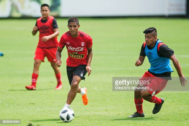 Peruvian national football team players take part in a training session in Lima on March 17 before the team's departure to the US where they will...