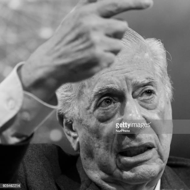 Peruvian Nobel prizewinning author Mario Vargas Llosa during the presentation of his new book 'La llamada de la tribu' at the Casa de America in...