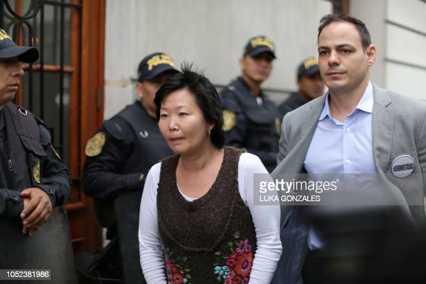 Peruvian opposition party Fuerza Popular leader Keiko Fujimori's sister Sachi Fujimori and husband Mark Vito arrive for her appeals hearing in Lima...