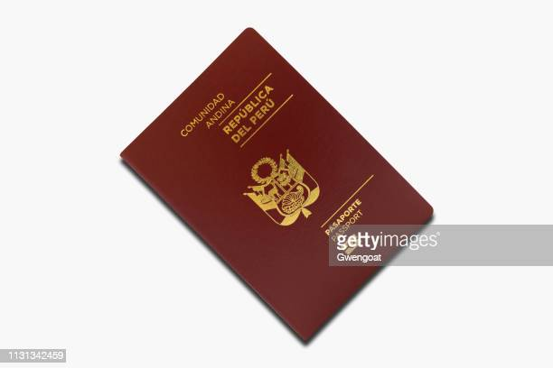 peruvian passport isolated on a white background - peruvian culture stock pictures, royalty-free photos & images