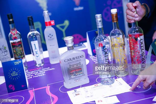 Peruvian Pisco displayed during the Summer Fancy Food Show at the Javits Center in the borough of Manhattan on June 23 2019 in New York The Summer...