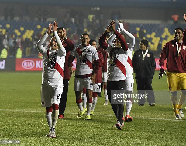 Peruvian players celebrate at the end of their Copa America third place football match against Paraguay in Concepcion Chile on July 3 2015 Peru won...