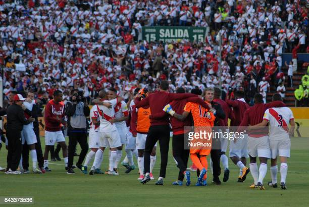 Peruvian players celebrate their triumph against Ecuador during the World Cup qualifier against Russia 2018 played at the Atahualpa Olympic Stadium...
