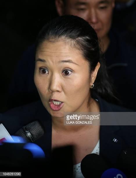 Peruvian politician and leader of Peru's Fuerza Popular party Keiko Fujimori daughter of Peru's former president Alberto Fujimori addresses the press...