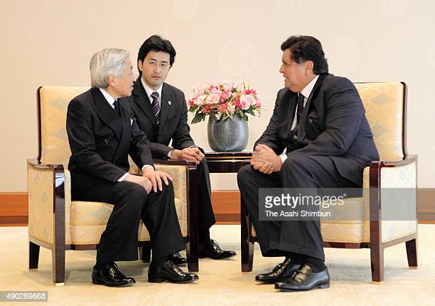 Peruvian President Alan Garcia and Emperor Akihito talk during their meeting at the Imperial Palace on March 17 2008 in Tokyo Japan