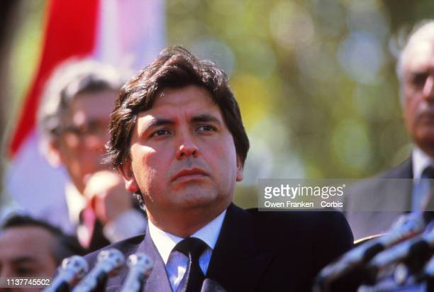 Peruvian President Alan Garcia looks on during a visit to Argentine President Raul Alfonsin on May 1 1986 in Buenos Aires Argentina