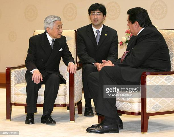 Peruvian President Alan Garcia talks with Emperor Akihito during their meeting at the Imperial Palace on November 11 2009 in Tokyo Japan