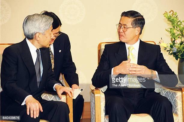 Peruvian President Alberto Fujimori and Emperor Akihito talk during their meeting at the Imperial Palace on May 21, 1999 in Tokyo, Japan.
