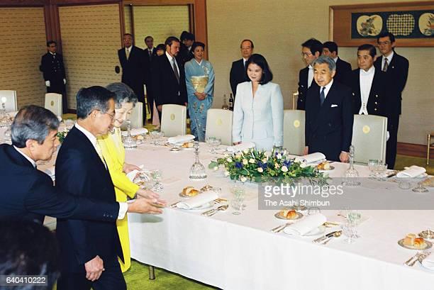 Peruvian President Alberto Fujimori and his daughter Keiko are escorted by Emperor Akihito and Empress Michiko prior to the luncheon at the Imperial...