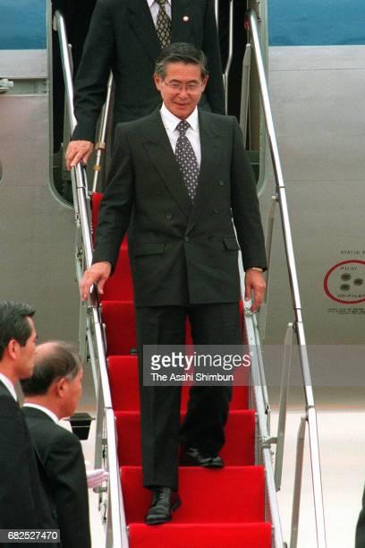 Peruvian President Alberto Fujimori is seen on arrival at Haneda International Airport on July 2 1997 in Tokyo Japan