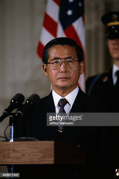 Peruvian President Alberto Fujimori meets with President George Bush at the White House