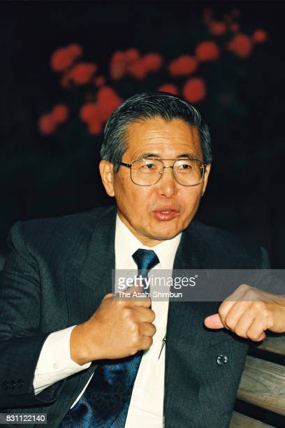 Peruvian President Alberto Fujimori speaks during the Asahi Shimbun interview on June 1 1993 in Tokyo Japan