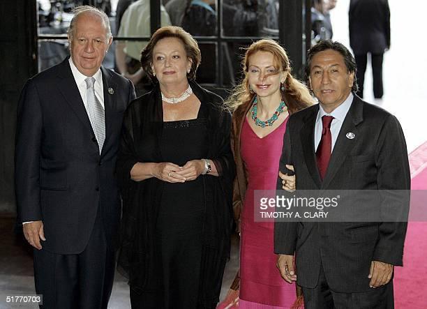 Peruvian President Alejandro Toledo ans his wife Eliane Karp are greeted by Chilean President Ricardo Lagos and his wife Luisa Duran upon their...
