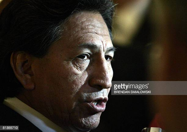 Peruvian President Alejandro Toledo speaks to the media after delivering a speech to the Organization of American States 24 September during a...