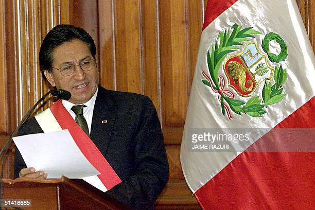 Peruvian President Alessandro Toledo reads his speech at a ceremony marking the anniversary of the Peruvian Congress 20 September 2002 in Lima Toledo...