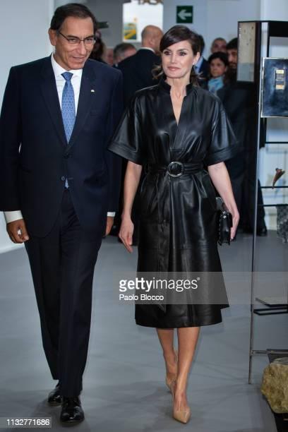 Peruvian president Martin Alberto Vizcarra Cornejo and Queen Letizia of Spain attend the opening of ARCO 2019 at Ifema on February 28, 2019 in...