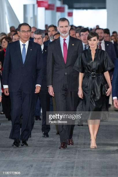 Peruvian president Martin Alberto Vizcarra Cornejo King Felipe VI of Spain and Queen Letizia of Spain attend the opening of ARCO 2019 at Ifema on...