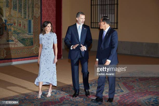 Peruvian president Martin Alberto Vizcarra offer a reception in honour of King Felipe VI of Spain and Queen Letizia of Spain at El Pardo Palace on...