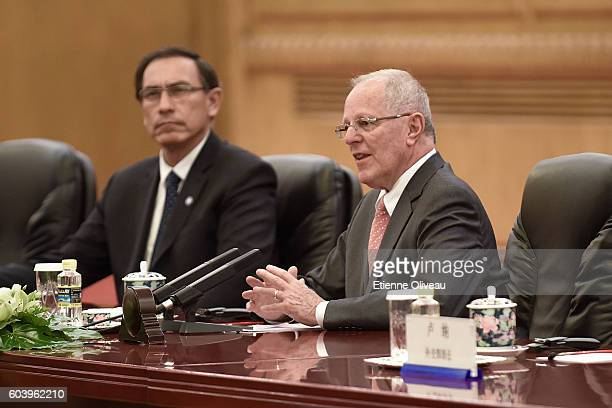 Peruvian President Pedro Pablo Kuczynski speeks a during a meeting with Chinese President Xi Jinping at the Great Hall of the People on September 13...