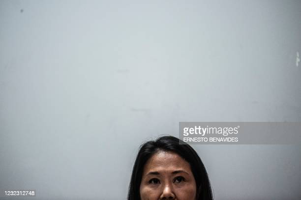 Peruvian presidential candidate for Fuerza Popular Party, Keiko Fujimori, delivers a press conference in Lima on April 14, 2021. - Far-left unionist...