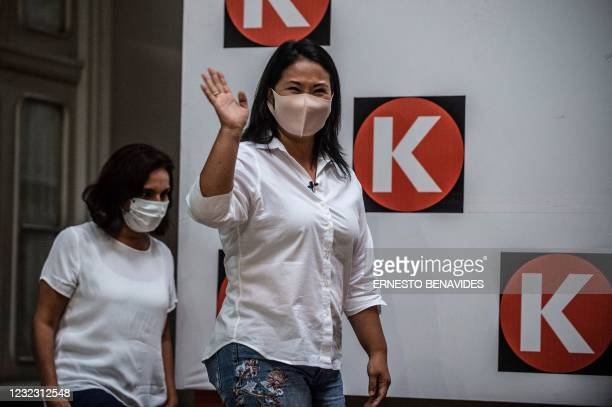 Peruvian presidential candidate for Fuerza Popular Party, Keiko Fujimori, arrives for a press conference in Lima on April 14, 2021. - Far-left...