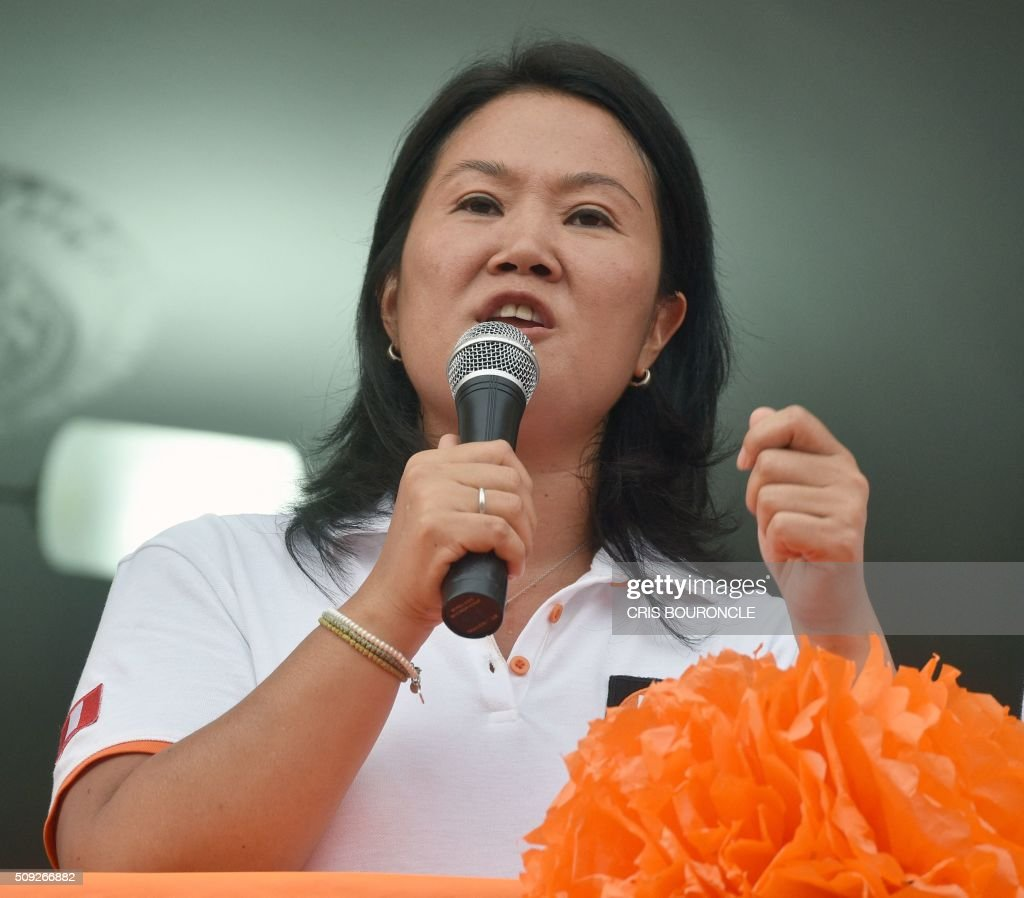 Peruvian presidential candidate for the April 10 general election, Keiko Fujimori leader of the Fuerza Popular Party, delivers a speech during a campaign rally in Lima, on February 9, 2016. Fujimori, daughter of imprisoned Peruvian former President Alberto Fujimori, consistently leads the polls.