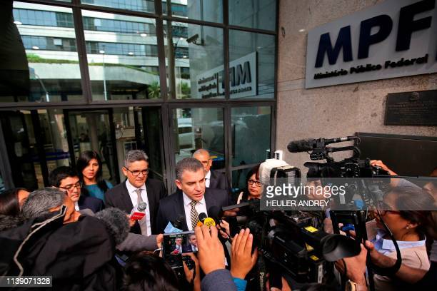 Peruvian prosecutor Rafael Vela speaks outside the Federal Public Ministry in Curitiba Brazil on April 24 2019 Peru's public prosecutor Rafael Vela...