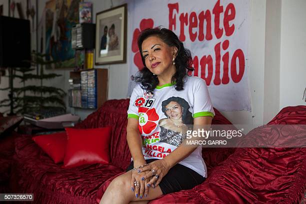 Peruvian prostitute Angela Villon of the 'Frente Amplio' party poses after an interview in Lima on January 27 2016 Villon wants to become a...