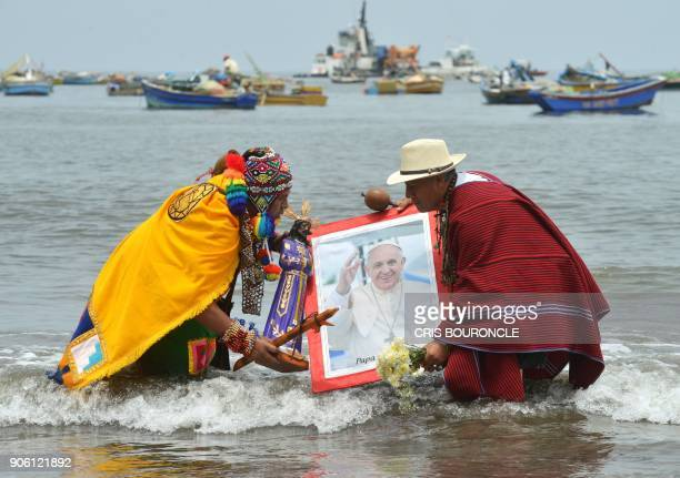 Peruvian shamans indigenous witch doctors or priests perform a ritual of spiritual support to welcome and protect Pope Francis on January 17 2018 at...