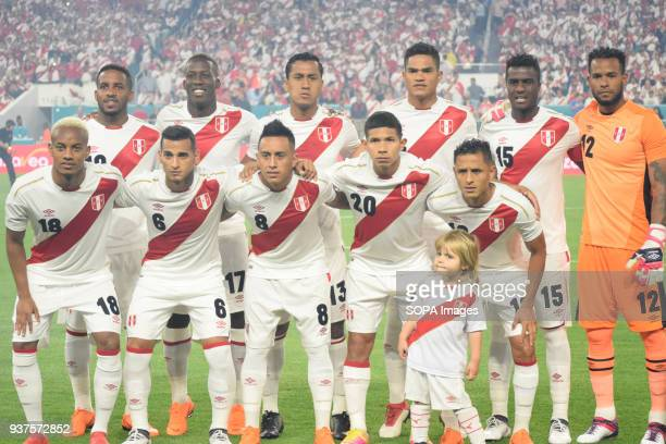Peruvian team poses for the photo before the match against Croatia The Croatian national football team played a friendly match against Peru on 23rd...