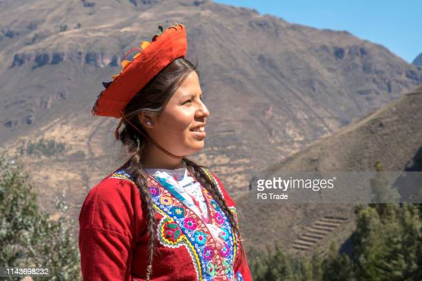 peruvian woman looking away - quechua people stock pictures, royalty-free photos & images