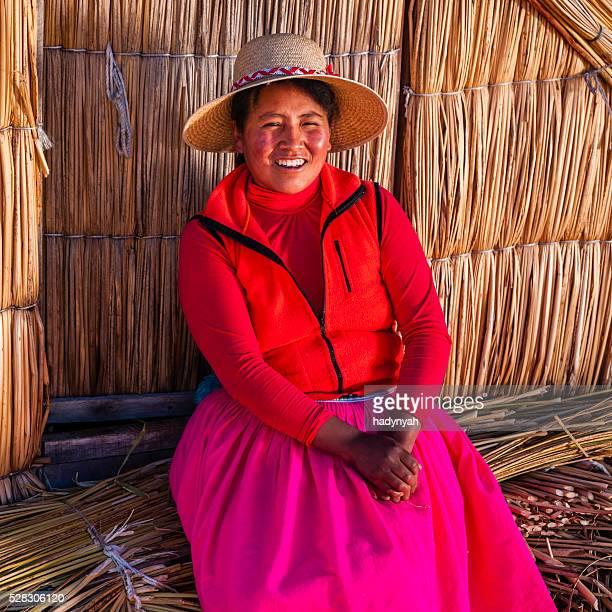 Peruvian woman on Uros floating island, Lake Tititcaca