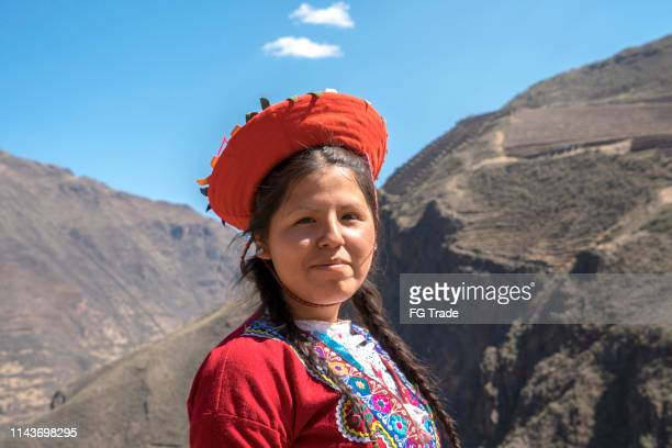 peruvian woman portrait - peruvian culture stock pictures, royalty-free photos & images