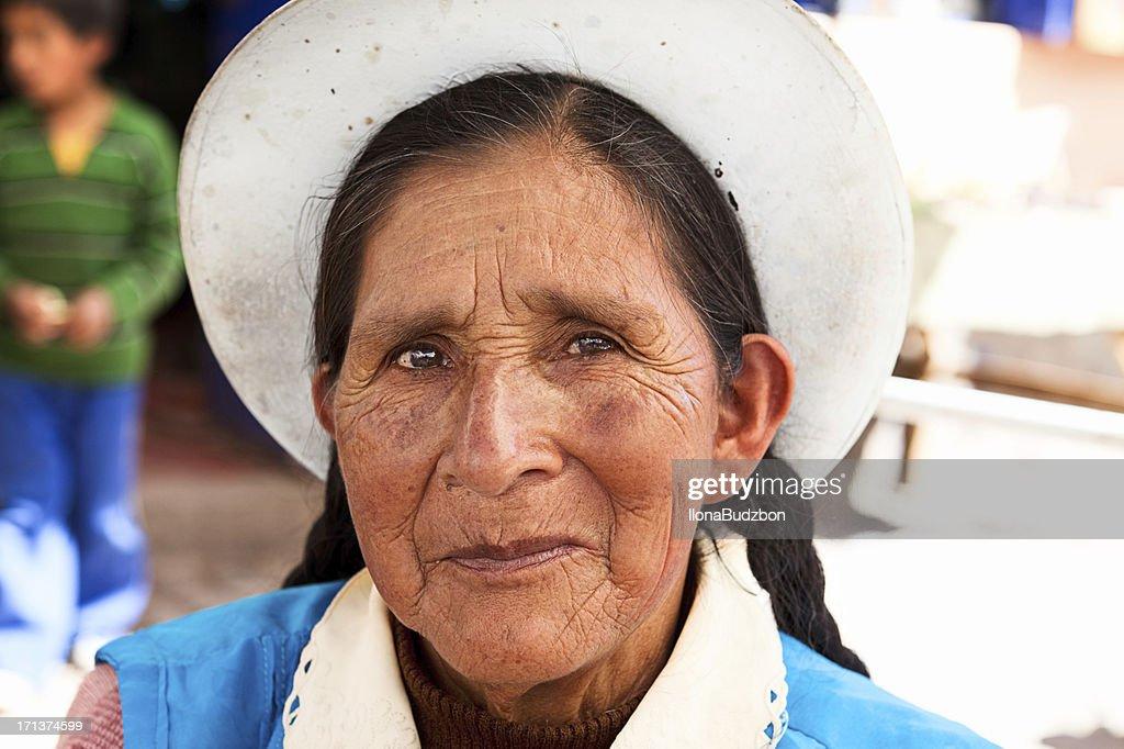 Peruvian woman portrait : Stock Photo