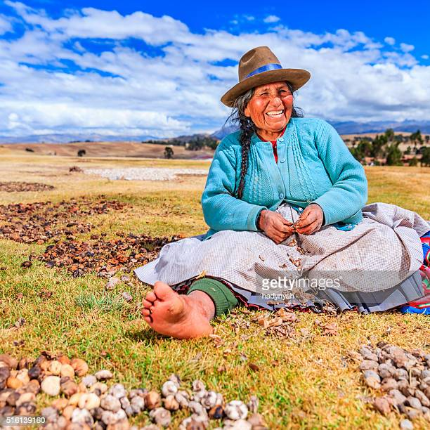 Peruvian woman preparing chuno - frozen potato, near Cuzco,Peru
