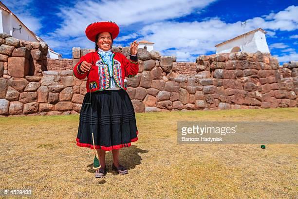 Peruvian woman spinning wool
